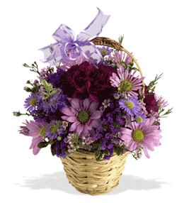 Erzincan çiçek , çiçekçi , çiçekçilik  sepet içerisinde krizantem çiçekleri