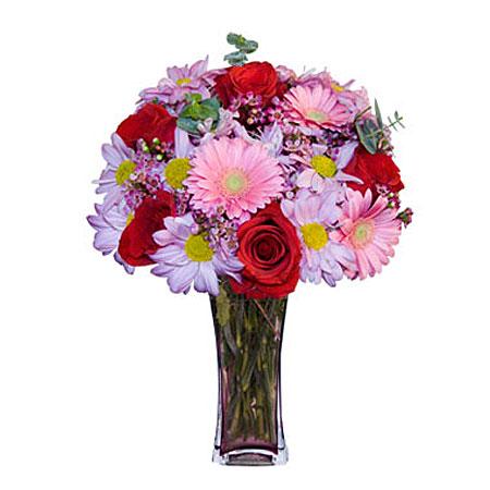 Görsel hediye karisik cam mevsim demeti  Erzincan yurtiçi ve yurtdışı çiçek siparişi