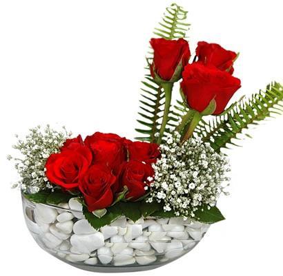 cam içerisinde 9 adet kirmizi gül  Erzincan çiçek yolla