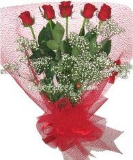 5 adet kirmizi gülden buket tanzimi  Erzincan anneler günü çiçek yolla