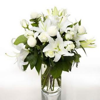 Erzincan 14 şubat sevgililer günü çiçek  1 dal cazablanca 7 adet beyaz gül vazosu