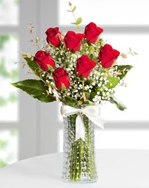 Cam vazoda 7 adet kırmızı gül  Erzincan çiçek mağazası , çiçekçi adresleri