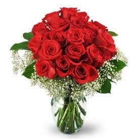 25 adet kırmızı gül cam vazoda  Erzincan çiçek mağazası , çiçekçi adresleri