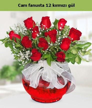 Cam içerisinde 12 adet kırmızı gül  Erzincan çiçek yolla , çiçek gönder , çiçekçi