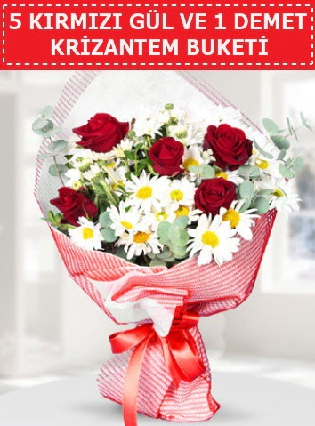 5 adet kırmızı gül ve krizantem buketi  Erzincan çiçek servisi , çiçekçi adresleri