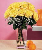Erzincan çiçek yolla , çiçek gönder , çiçekçi   9 adet sari güllerden cam yada mika vazo