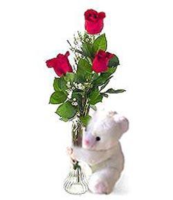 oyuncak ve 3 adet gül  Erzincan online çiçekçi , çiçek siparişi
