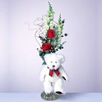 2 adet gül ve panda özel  Erzincan yurtiçi ve yurtdışı çiçek siparişi