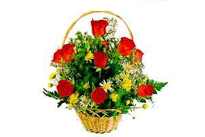 ahsap sepet kirmizi güller   Erzincan İnternetten çiçek siparişi