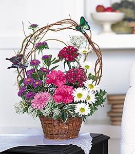 Erzincan çiçek satışı  sepet içerisinde karanfil gerbera ve kir çiçekleri