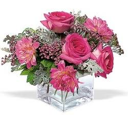 Erzincan çiçek satışı  cam içerisinde 5 gül 7 gerbera çiçegi