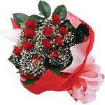 Erzincan çiçek yolla , çiçek gönder , çiçekçi   KIRMIZI AMBALAJ BUKETINDE 12 ADET GÜL