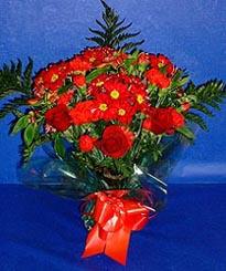 Erzincan güvenli kaliteli hızlı çiçek  3 adet kirmizi gül ve kir çiçekleri buketi