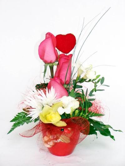 Erzincan kaliteli taze ve ucuz çiçekler  cam içerisinde 3 adet gül ve kir çiçekleri