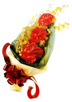 özel 5 adet antorium buketi   Erzincan 14 şubat sevgililer günü çiçek