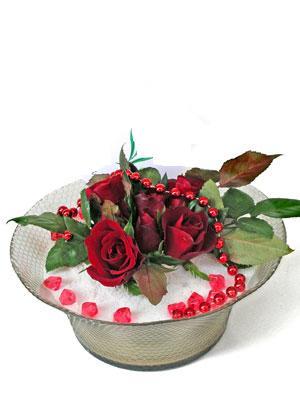 Erzincan çiçek yolla  EN ÇOK Sevenlere 7 adet kirmizi gül mika yada cam tanzim