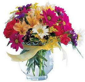 Erzincan çiçek yolla , çiçek gönder , çiçekçi   cam yada mika içerisinde karisik mevsim çiçekleri