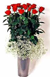 Erzincan çiçekçi telefonları  9 adet kirmizi gül cam yada mika vazoda