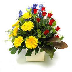 Erzincan çiçek gönderme  9 adet gül ve kir çiçekleri cam yada mika vazoda