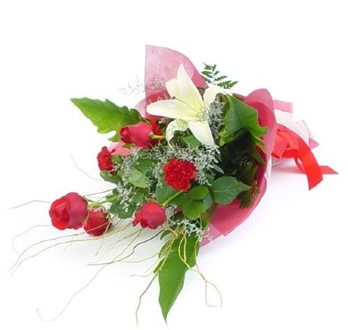 Mevsim çiçeklerinden karisik buket  Erzincan çiçekçi telefonları