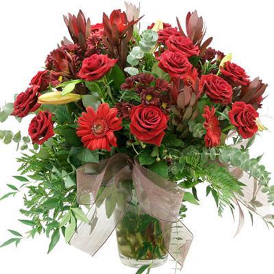 kaliteli karisik mevsdim çiçekli vazo çiçegi
