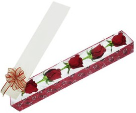 Erzincan çiçek yolla , çiçek gönder , çiçekçi   kutu içerisinde 5 adet kirmizi gül
