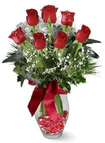 7 adet vazoda gül  Erzincan çiçek yolla , çiçek gönder , çiçekçi   kirmizi gül