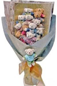 12 adet ayiciktan buket tanzimi  Erzincan çiçekçi telefonları