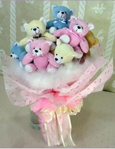 9 adet ayiciktan buket  Erzincan internetten çiçek satışı