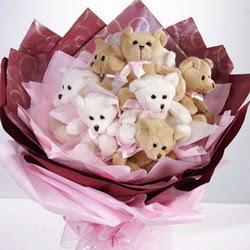 9 adet ayiciktan buket  Erzincan çiçek gönderme sitemiz güvenlidir