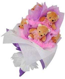 9 adet ayiciktan buket  Erzincan çiçekçi mağazası