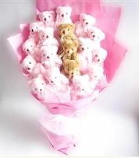 17 adet pelus ayicik buketi  Erzincan uluslararası çiçek gönderme