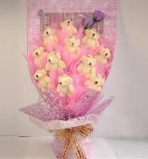 11 adet pelus ayicik buketi  Erzincan anneler günü çiçek yolla