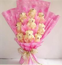 9 adet pelus ayicik buketi  Erzincan hediye çiçek yolla