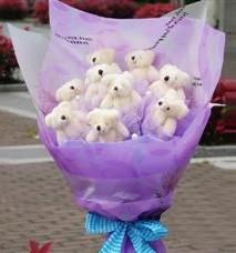 11 adet pelus ayicik buketi  Erzincan kaliteli taze ve ucuz çiçekler