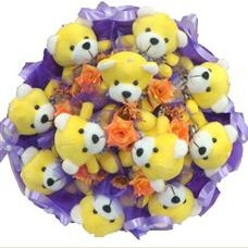 11 adet pelus ayicik buketi  Erzincan çiçekçiler