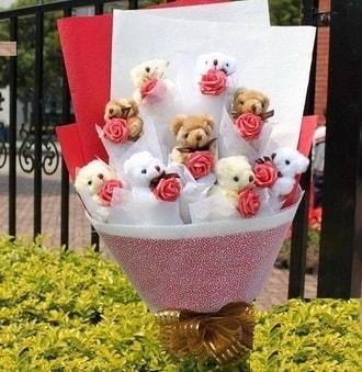 Erzincan çiçek yolla  9 adet ayicik ve 9 adet yapay gül
