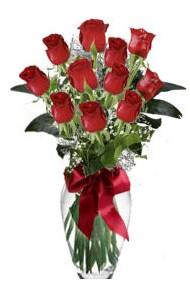 11 adet kirmizi gül vazo mika vazo içinde  Erzincan ucuz çiçek gönder