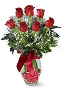 Erzincan çiçek gönderme sitemiz güvenlidir  7 adet kirmizi gül cam vazo yada mika vazoda