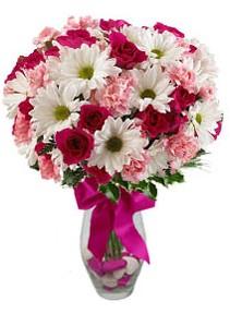 Erzincan online çiçekçi , çiçek siparişi  Karisik mevsim kir çiçegi vazosu