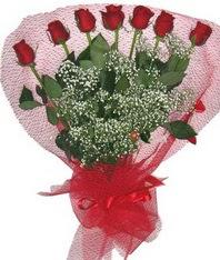 7 adet kipkirmizi gülden görsel buket  Erzincan çiçekçiler