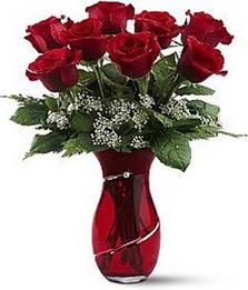 Vazo içinde 8 adet kirmizilar içinde güller  Erzincan çiçek gönderme sitemiz güvenlidir