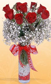 9 adet kirmizi gül cam yada mika vazoda  Erzincan çiçekçiler