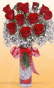 10 adet kirmizi gülden vazo tanzimi  Erzincan online çiçekçi , çiçek siparişi