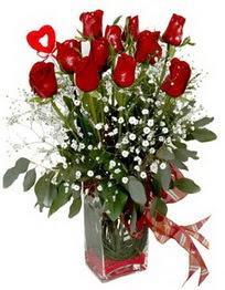 Erzincan çiçek yolla  9 adet mika yada cam vazoda gül tanzimi kalp çubuk