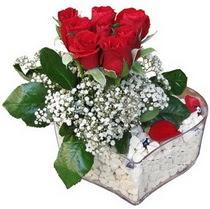 Erzincan çiçek siparişi vermek  kalp mika içerisinde 7 adet kirmizi gül