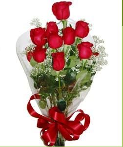 Erzincan çiçek , çiçekçi , çiçekçilik  10 adet kırmızı gülden görsel buket