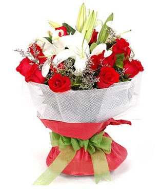 Erzincan güvenli kaliteli hızlı çiçek  1 dal kazablanka 11 adet kırmızı gül buketi