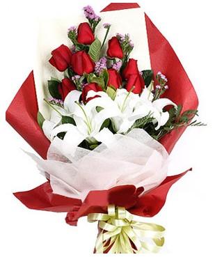 Erzincan İnternetten çiçek siparişi  1 dal kazablankaa 9 adet kırmızı gül buketi