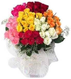 Erzincan çiçek online çiçek siparişi  51 adet farklı renklerde gül buketi